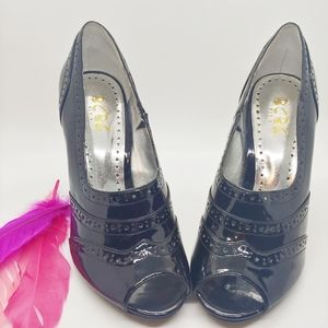 Size 7 | BCBG Paris Willa Peep Toe Patent Heels